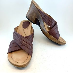 Dansko Neve Criss Cross Wedge Sandals 40 9.5 10